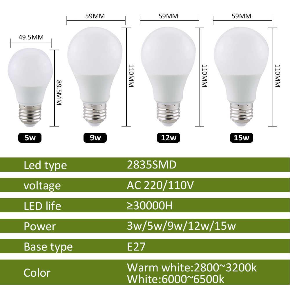 E27 светодиодный фонарь 220 V 110 V светодиодный лампы E27 лампы SMD 2835 Светодиодный точечный светильник 15 W 12 W 9 W 5 W 3 W настольная лампа лампы для светильников трубы