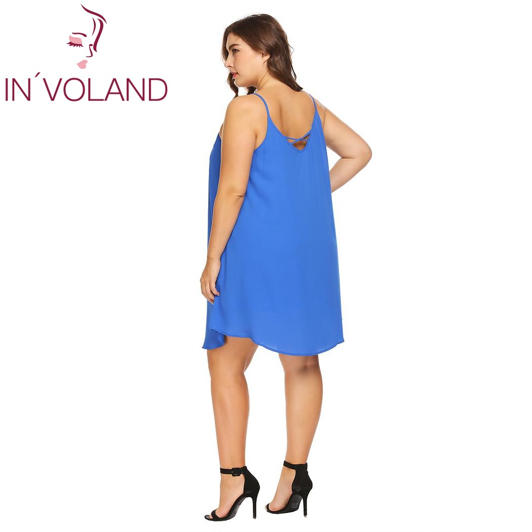 IN VOLAND Plus Size XL 5XL Women Dress Sexy Spaghetti Strap Solid Summer  Casual Loose Fit Swing Tank Dresses Vestidos Oversized-in Dresses from  Women s ... bb453ab819b8