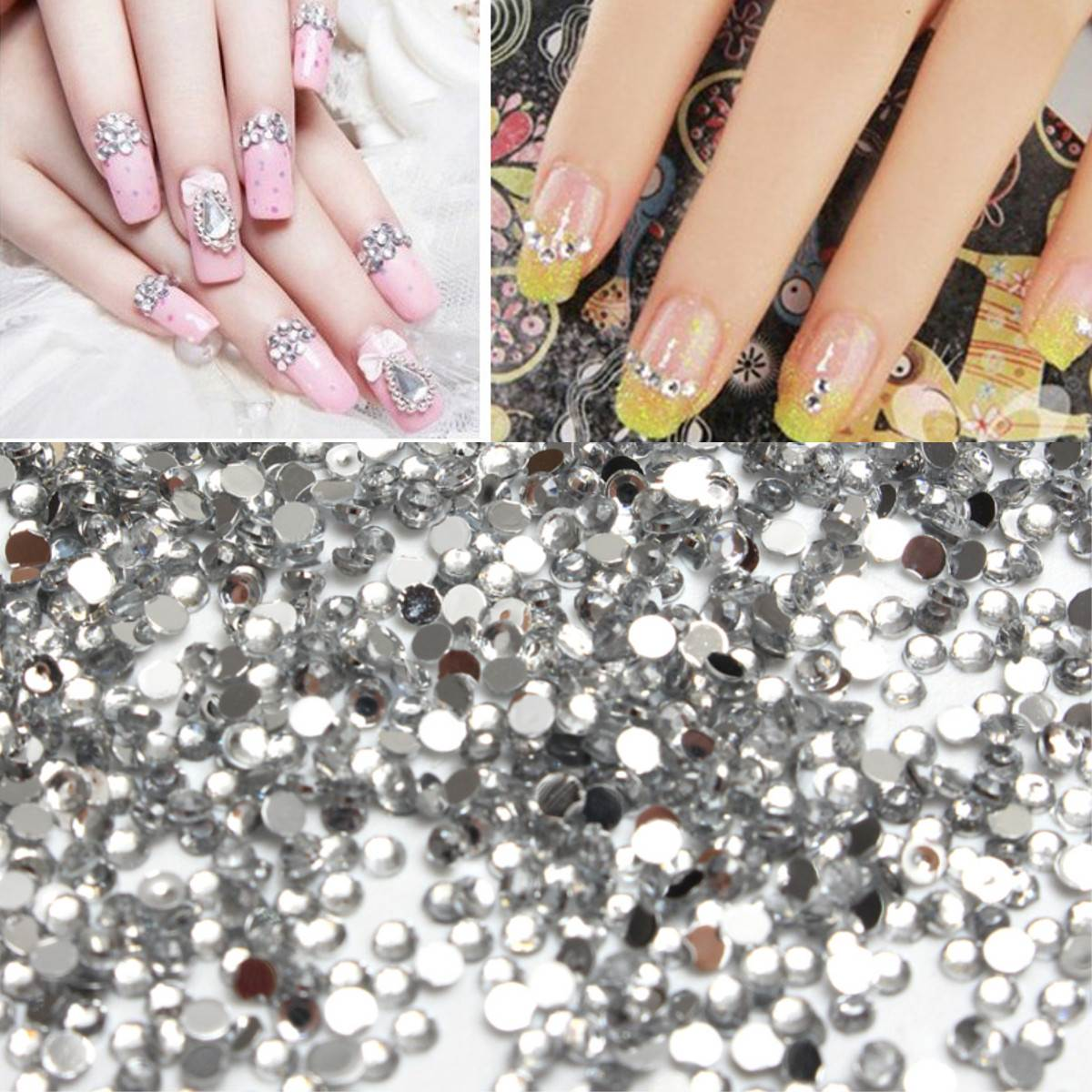 1000Pcs Clear Round Crystal Gem Diamond AB Nail Art Rhinestones For ...