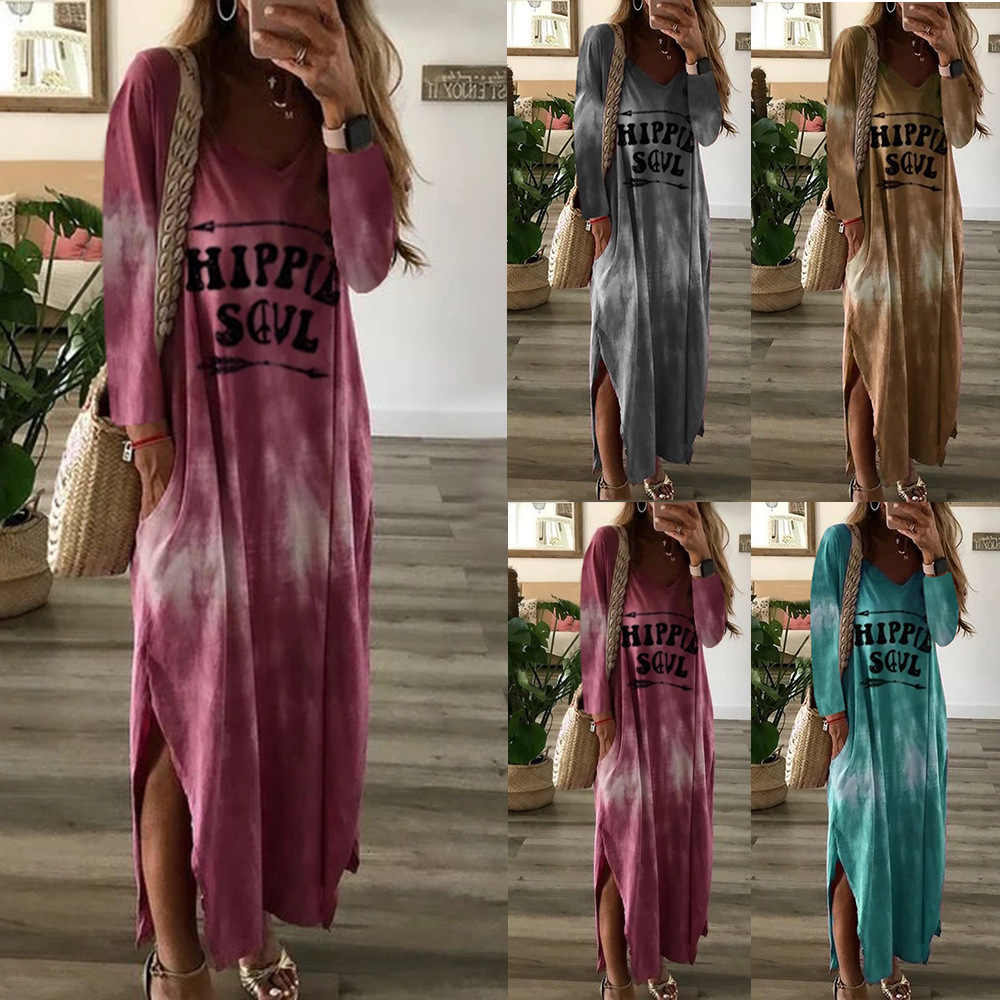 2019 Autumn Women New Simple V Neck Letter Tie-Dyed Printing Leisure Long Sleeve Dresses Maxi Dress Ladies Vestidos