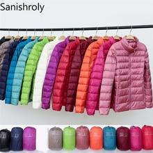 Sanishroly новая осенне-зимняя женская тонкая куртка-пуховик на белом утином пуху, Женская парка, ультра-светильник, короткая верхняя одежда размера плюс S268