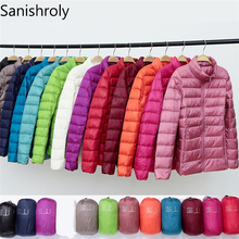Sanishroly 2018 New Autumn Winter Women Thin White Duck Down Jacket Parka Female