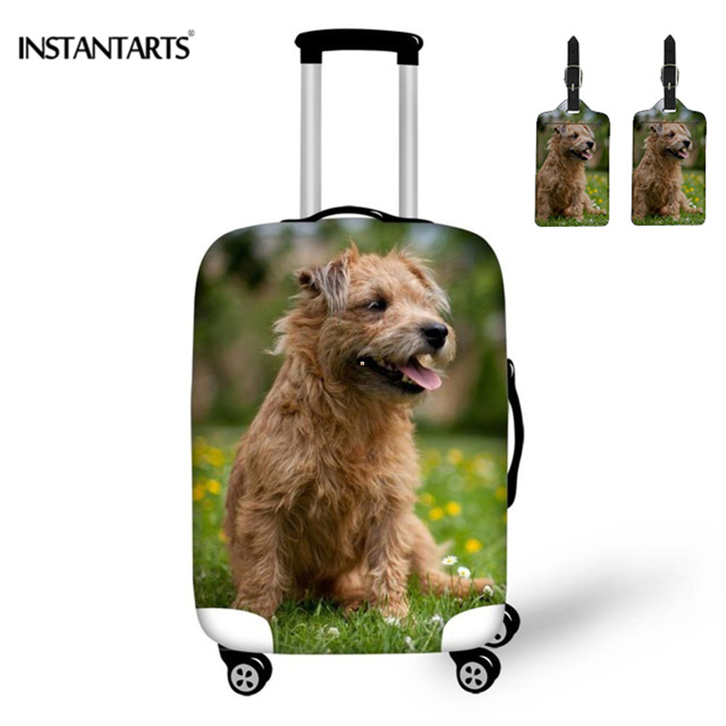 INSTANTARTS 3Pcs/set 3D Print Cute Sausage Dog Luggage Protection Cover Thicken Baggage Elastic Pouch Pretty Travel Accessories