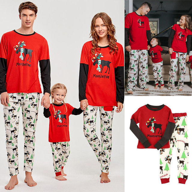 06a94a56cf Family Matching Outfits 2017 Autumn Winter Christmas Pajamas Cute Deer  Children Clothing Kid Tops+