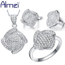 Almei 49% Off Bijuterias Plata Plaza Marco Completo de La Vendimia Flor de Cristal CZ Diamond Establece Mujer casamento 2017 T051
