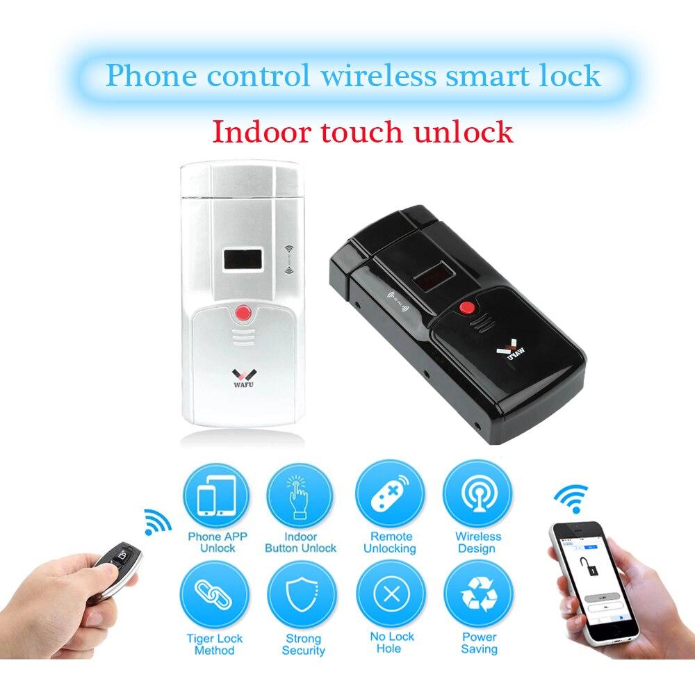 WAFU 011 serrure intelligente HF 011A serrure électronique de porte contrôle du téléphone télécommande sans fil serrure électronique intelligente serrures invisibles