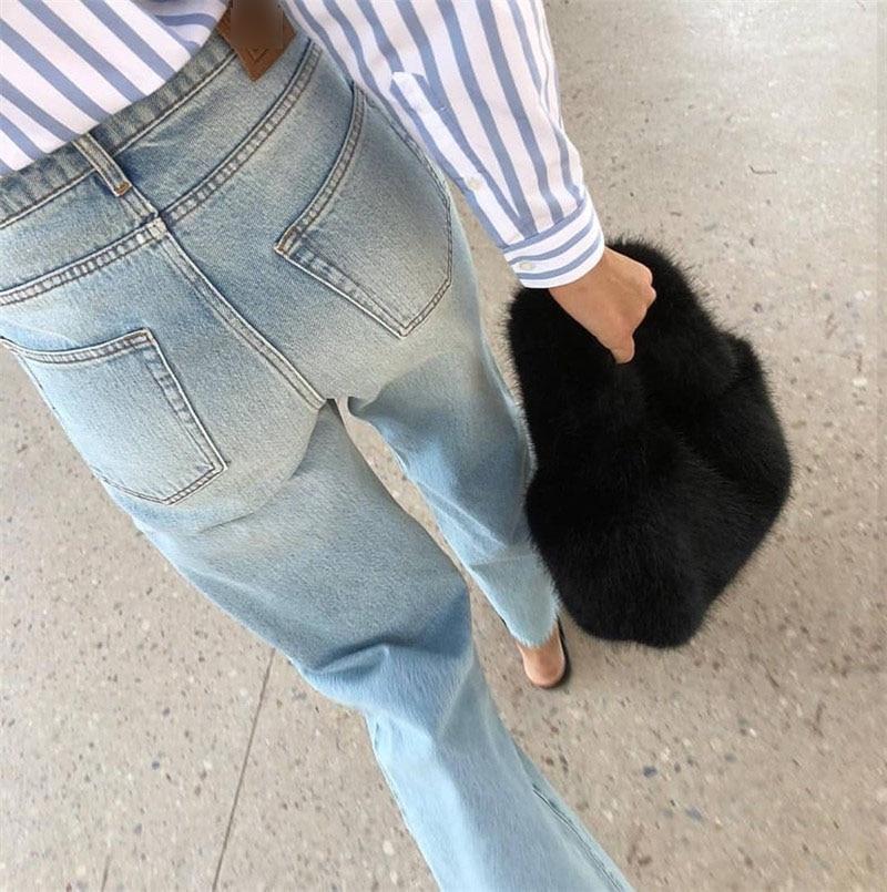 Flair Denim lavado azul blanco cintura alta pierna ancha recortada pantalones vaqueros sueltos pantalones con bolsillos moda mujer fondos 2019-in Pantalones vaqueros from Ropa de mujer    1