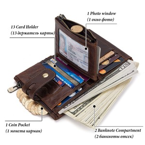 Image 2 - Free Engraving 100% Genuine Leather Men Wallet Coin Purse Small Mini Card Holder Chain PORTFOLIO Portomonee Male Walet Pocket