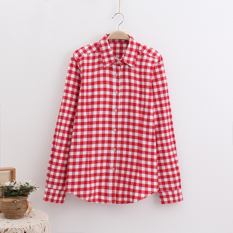 2018 Fashion Plaid Shirt Female College Style Women's Blouses Long Sleeve Flannel Shirt Plus Size Casual Blouses Shirts M-5XL 31