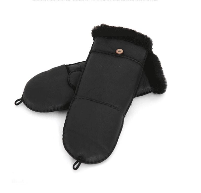 2019 New Winter Mittens Women's Gloves Real Goat Fur Genuine Leather Mittens Female Thickened Ski Waterproof Gloves Youth Gloves
