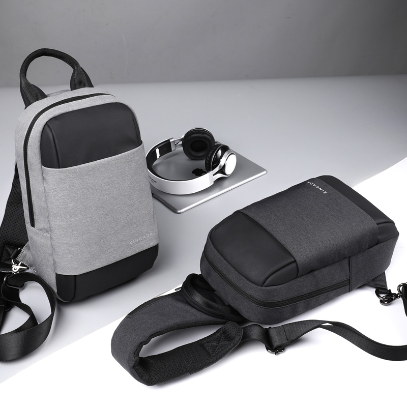 XINCADA New Arrival Men Chest Bags Sling Bag Pack Messengers Bag Waterproof Single Shoulder Bag USB