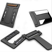 ABS plastiko + nerūdijančio plieno lauko kelionių patogūs įrankiai, sulankstoma kortelės tipo ultra plona skustuvas, vaisių skustuvas, veidrodis