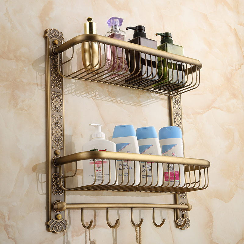 цена на New Arrival Wall Mounted Antique Brass Bathroom Shelf with towel rack and robe hooks Bath Shampoo shelf dual tiers Corner shelf