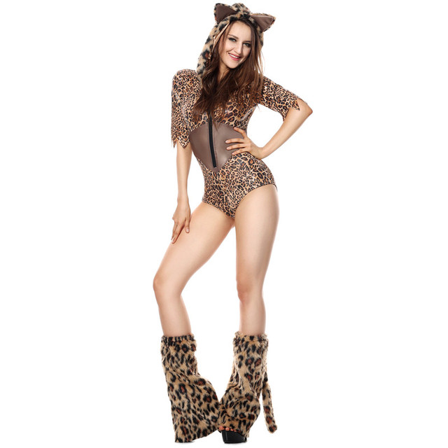 ee8bdd5352a Plush Models Sexy Leopard Lingerie Costume Tigers Game Cosplay Clothing Party  Dress Halloween Sexy Animal Costumes M40396