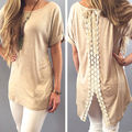 New 2015 Fashion Women cotton Lace T-shirt casual Summer Short Sleeve Tops tees