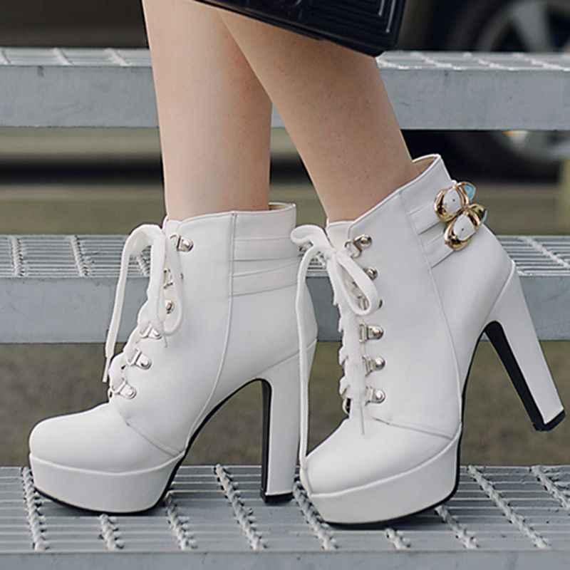 QPLYXCO 2017 Yeni Büyük boy 34-50 bileğe kadar bot kısa Sonbahar kış Seksi kadın lace up yüksek topuklu (12 cm) düğün parti ayakkabıları 3872