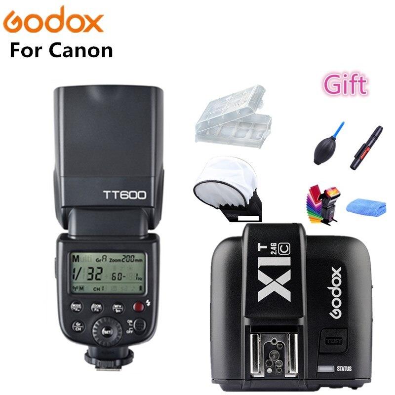 Godox TT600 2.4G Wireless GN60 Master/Slave Camera Flash Speedlite + X1T-C Transmitter For Canon 1100D 1000D 7D 6D 60D 50D 600D