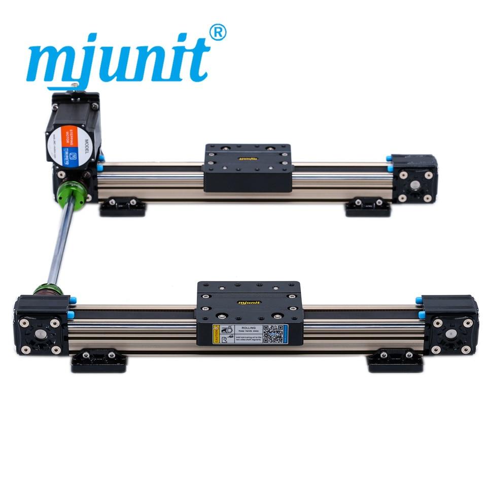 mjunit MJ40 Timing Belt Linear Actuator Drive LINEAR RAIL with 200mm stroke 2 rails mjunit mj40 miniature linear guideway with 400mm stroke