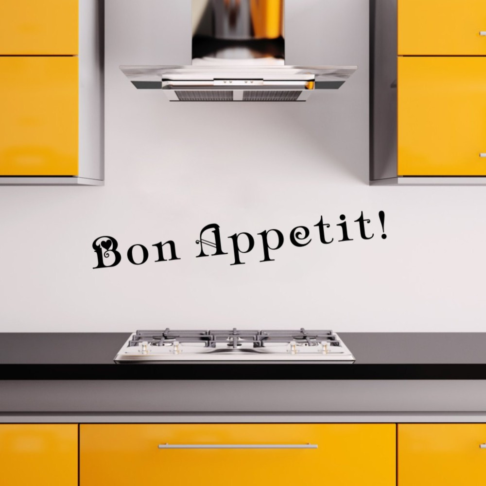 French Words Bon Appetit Wall Decal Kitchen Vinyl Wall Stickers Dining Room Removable Wall Decor for Home Decoration