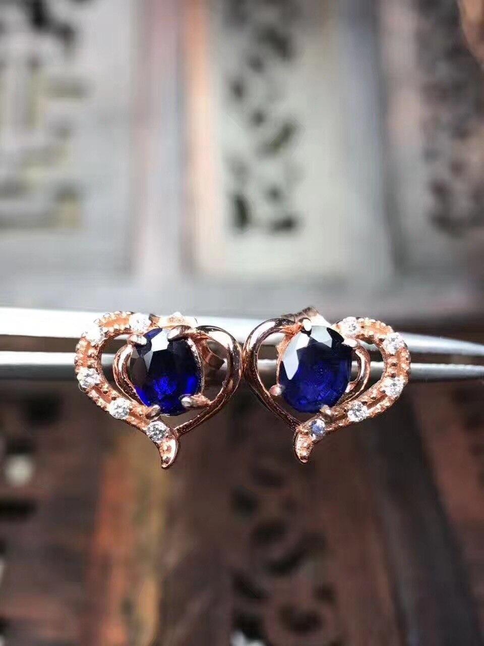 Sapphire stud oorbel Voor mannen of vrouwen Natuurlijke echte saffier 925 sterling zilver 4*5mm 2 stks edelsteen - 5