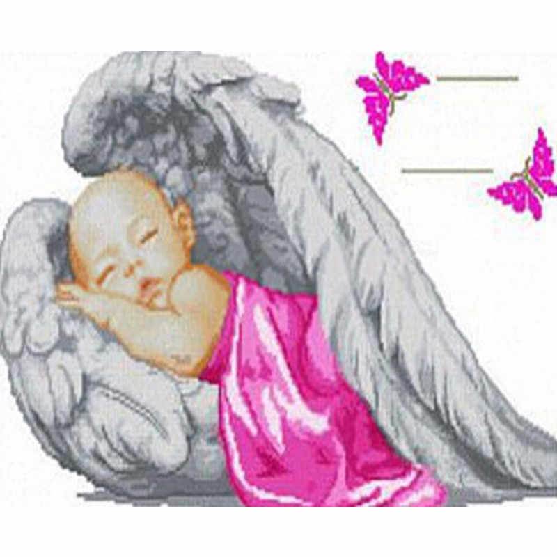 """ZJZY Full Round Drill 5D Diy Diamond Painting Red """"Angel baby"""" Embroidery Cross Stitch Rhinestone Mosaic Home Decoration LY455"""