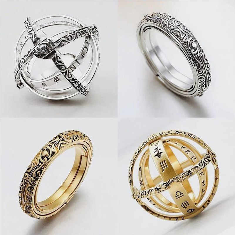 Astronomical Sphere Ball Ring Cosmic Finger Ring Complex Rotating Clamshell Astronomical Ring Universe Ring For Lover Jewelry