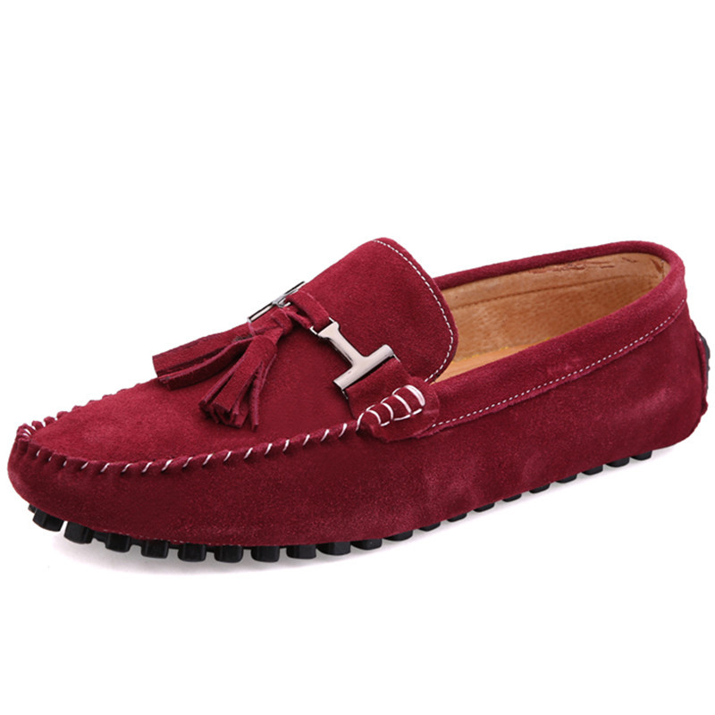 2016 Moccasins Men Shoes Men Loafers Shoes Red Flats Casual Slip On Loafers Men Suede Leather Loafers Zapatos Hombre moccasins topsaydery