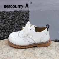 Aercourm A 2018 Children Genuine Leather Shoes Spring Boys Girls Flat Breathable Shoes Children Solid Color Casual Lacing Shoes