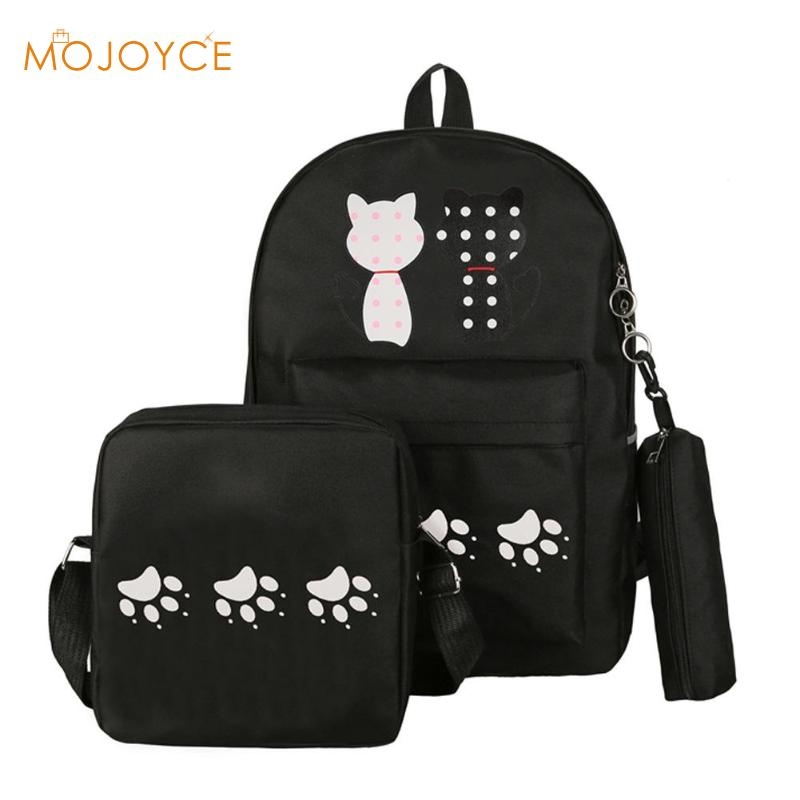 3pcs Women Cats Printing Backpack Canvas School Bags for Teen Girl Shoulder Bag with Pencil Case Fashion Travel Rucksack Mochila fashion women leather backpack rucksack travel school bag shoulder bags satchel girls mochila feminina school bags for teenagers