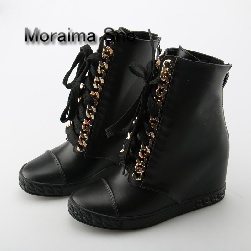 Moraima Snc Golden Chain Women Shoes High Wedge Shoes Platform Hidden Heel Zapatos Mujer High Top Tenis Feminino Ankle Boots 2018 wedge high heels thick soled high top ladies casual shoes women platform canvas shoes hidden wedge heel boots zapatos mujer