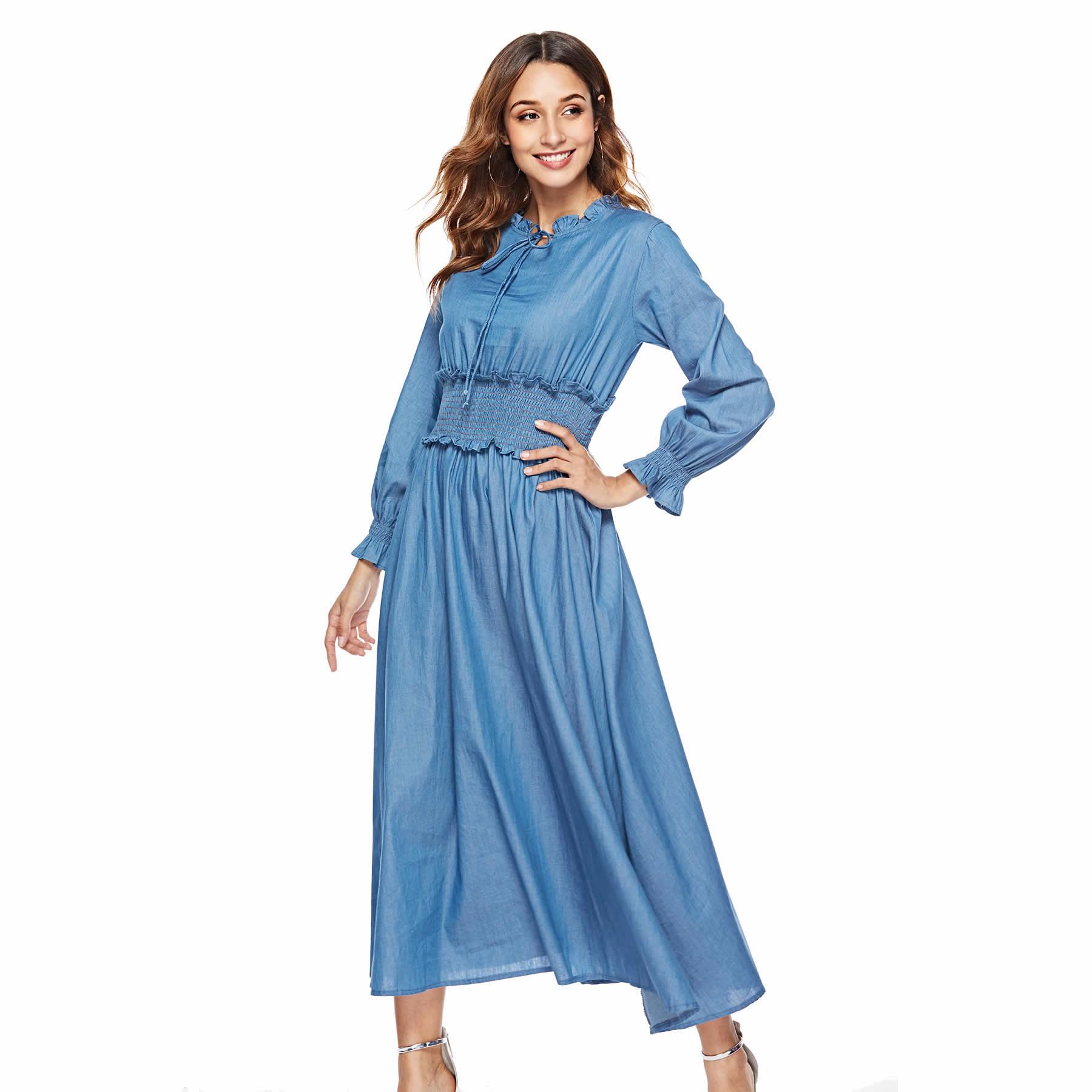 Long Denim Dress 2018 Autumn Fashion Women Long Sleeve Ankle Length Dresses Cute Womens Vestido S Xl Size