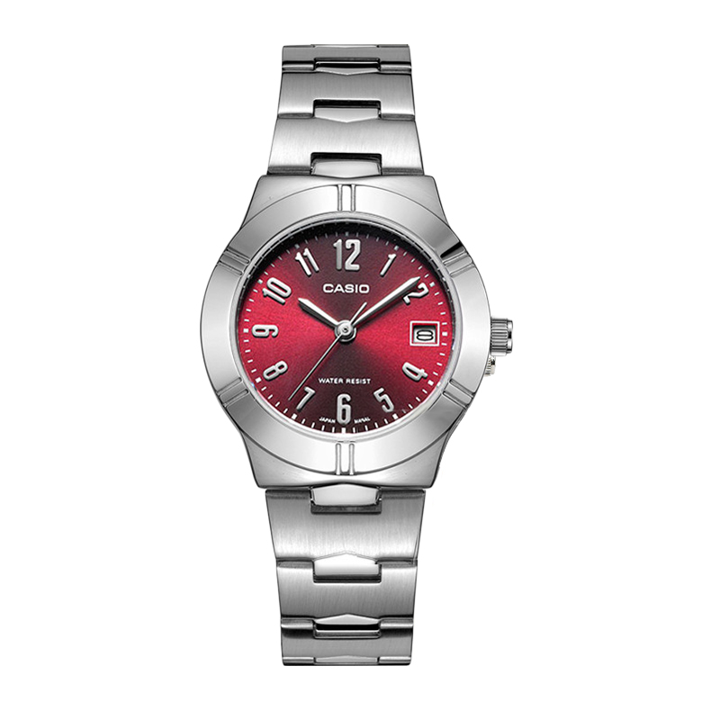 Casio Watch Rose Red Small Plate Steel Band Quartz Ladies Watch LTP-1241D-4A2