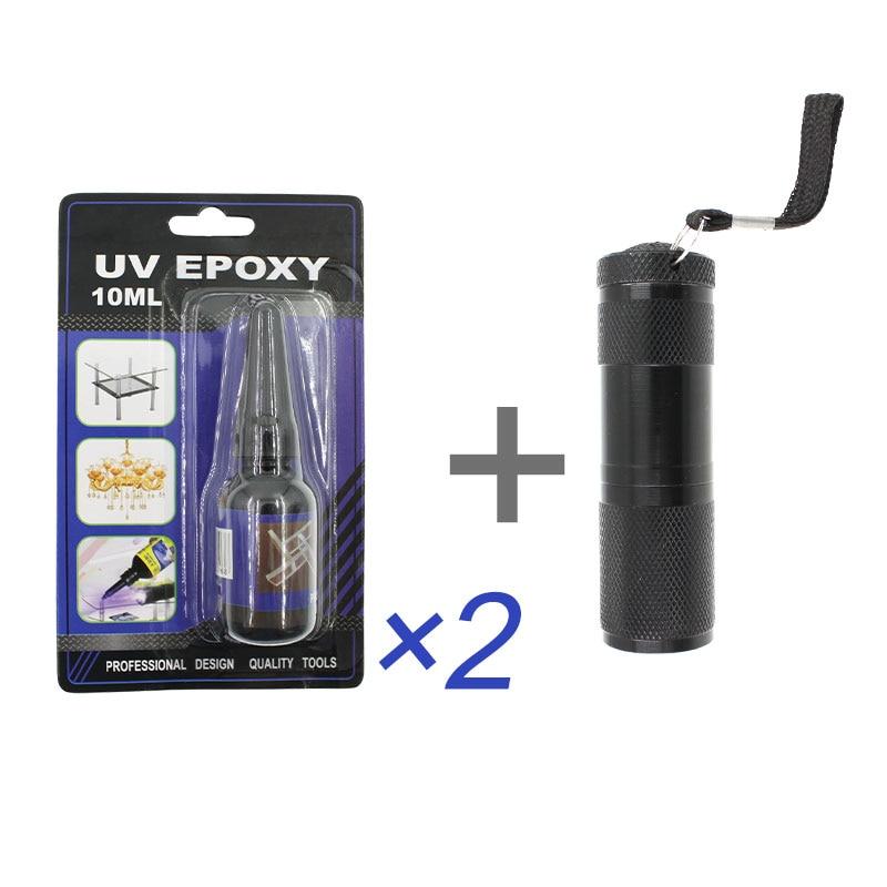 3Pcs/set Liquid UV Light Epoxy Resin Glue LED Lamp Flashlight Adhesive Wood Fabric Glass Metal Craft Bts School Stationery Store