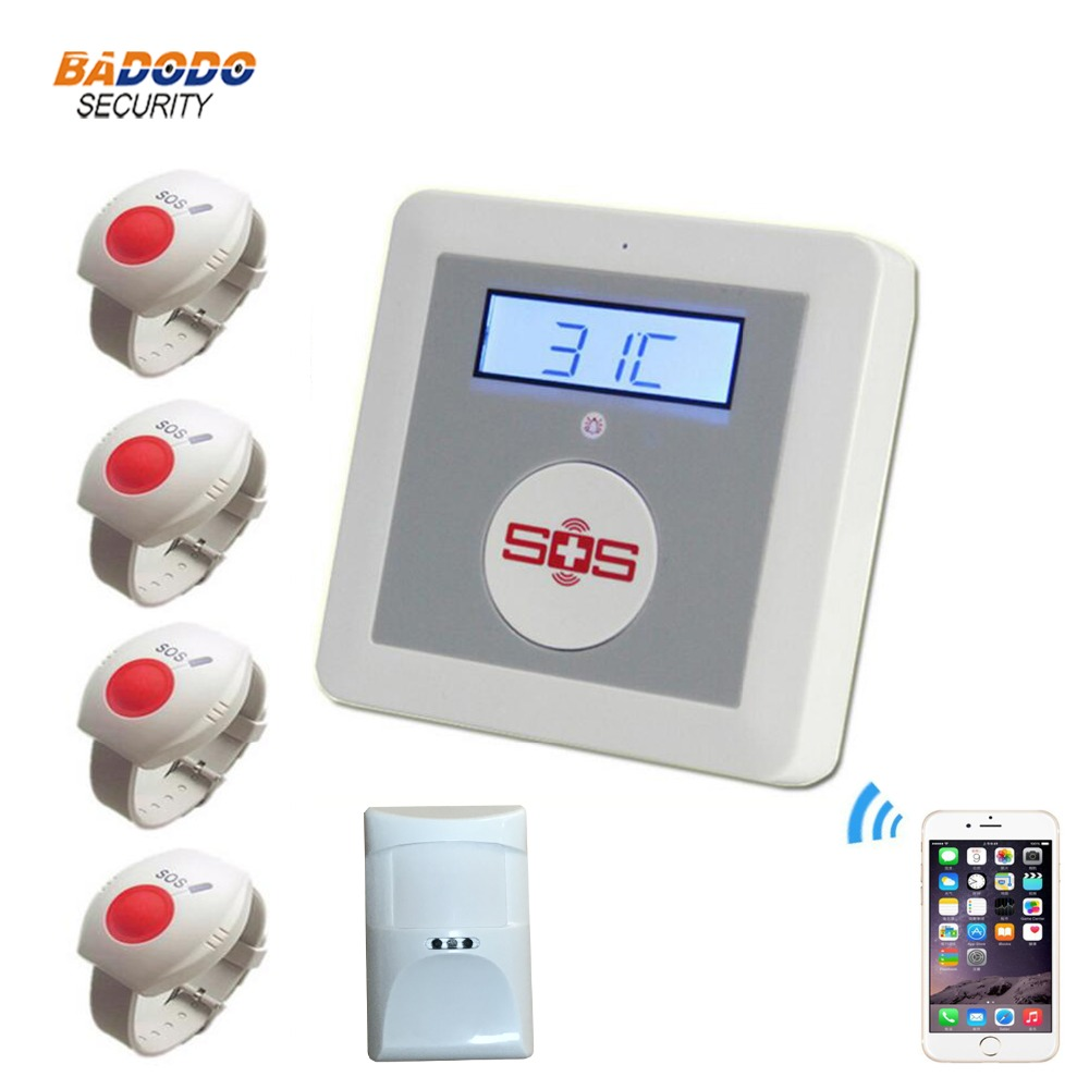 GSM ワイヤレスアプリ sms リモートコントロール高齢シニアケア警報システム K4 Pir モーションセンサー緊急 sos パニックボタン  グループ上の セキュリティ & プロテクション からの 緊急警報ボタン の中 1