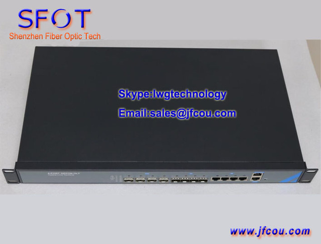 4 PON Port EPON OLT equipment, 4 uplink ports, Optical Line Terminal, with SFP module.