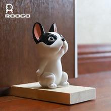 цена на Roogo Dog Animal Door Stops Wedge Door Stopper Creative Block Home Office Children Room Security Door Cute Miniature Figurines