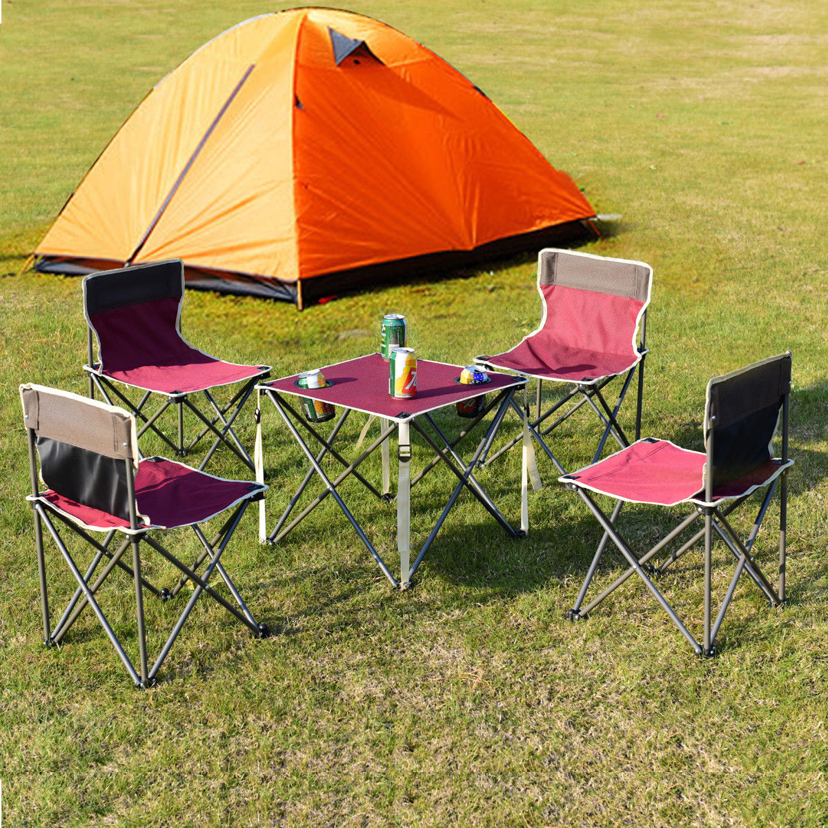Giantex Portable Outdoor Furniture Set Table 4 Chairs Set Garden Camp Beach Picnic Folding Table Set With Carrying Bag OP3381RE