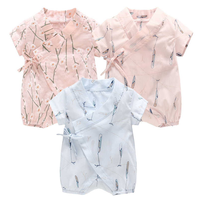 be43980f8ba7 Summer Cotton Floral Kimono Style Baby Clothes Boys and Girls Rompers  Newborn Outfits Infant Jumpsuit Toddler