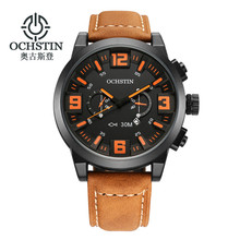 OCHSTIN Watches Men Luxury Brand Quartz Waterproof Analog Leather Strap Military Watch Relogio Clock Men Fashion Style