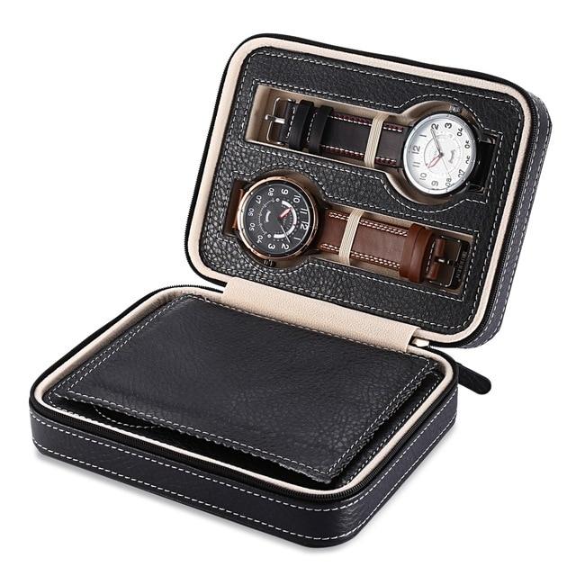Hot Sale 4 Grids PU Leather Watch Box Jewelry Storage Case Watch Display Box caja reloj Container Jewelry Organizer hot sale 6 grids pu leather watch box jewelry storage case watch display box caja reloj