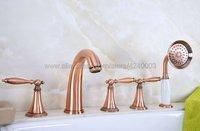 โบราณสีแดงทองแดงดาดฟ้าติด5ชิ้นอ่างอาบน้ำก๊อกก๊อกน้ำอ่างอาบน้ำอย่างกว้างขวางพร้อมHandshower Ktf203