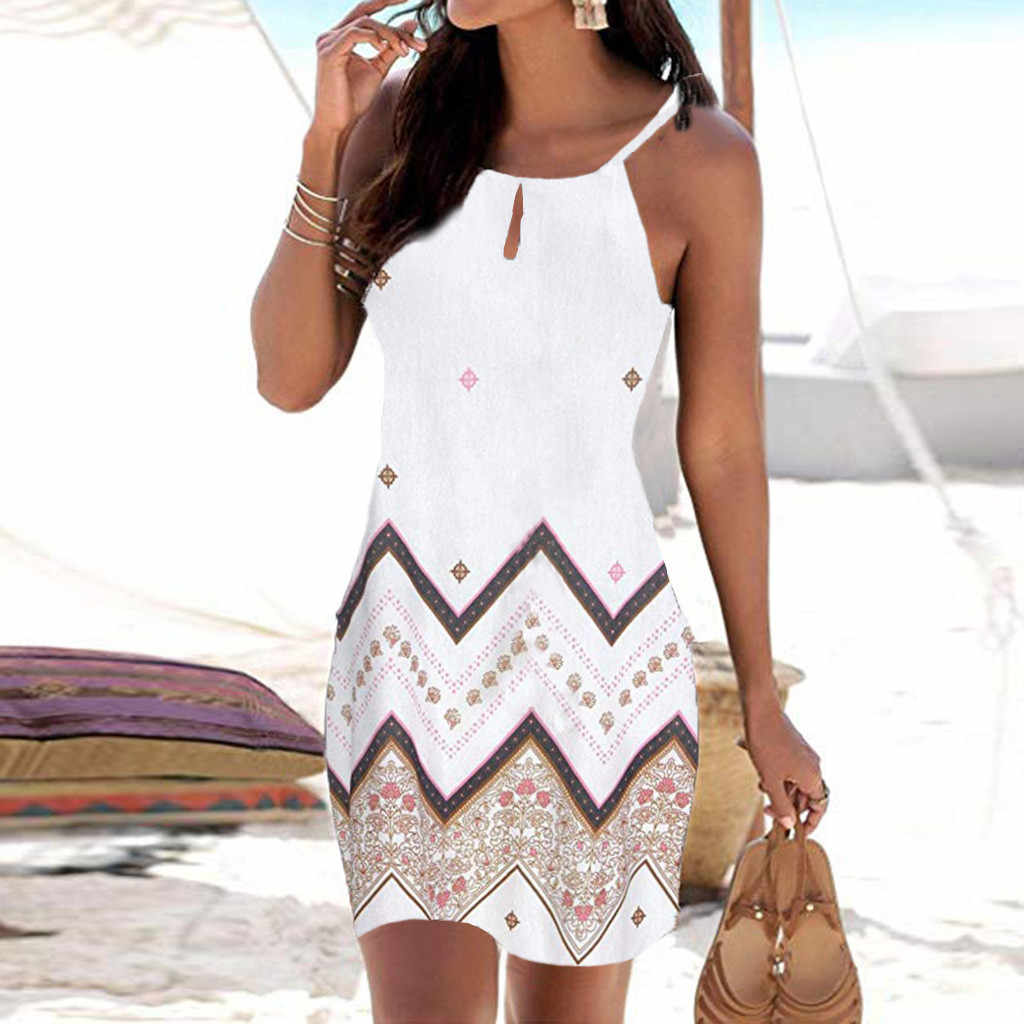Women Halter Neck Boho Print Sleeveless Casual Mini Beachwear Dress Sundress vestidos de verano summer dress 2019 vestidos dress