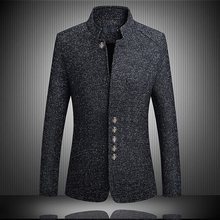 14e425ed078 CW Blazer Men 2018 spring New Chinese style Business Casual Stand Collar  Male Blazer Slim Fit Mens Blazer Jacket Size M-5XL