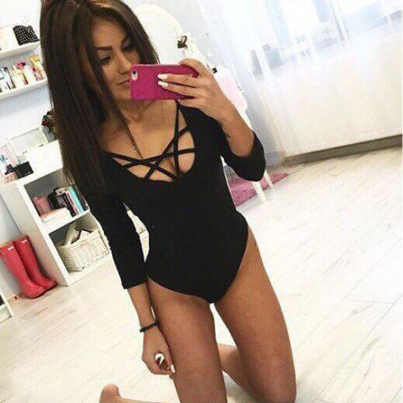 Sexy Ladies Women Bandage Long Sleeve Stretch Bodysuit V-neck Criss-cross Hollow Out Cotton Bodycon Slim Solid Jumpsuit Clothing