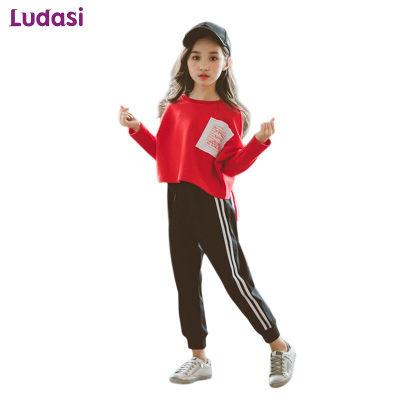 Kinder Trainingsanzug Baumwolle Sportwear Frühling Teen Mädchen Kleidung Sets Kinder Tops Langarm T-shirts + Jogginghose Hosen Mode