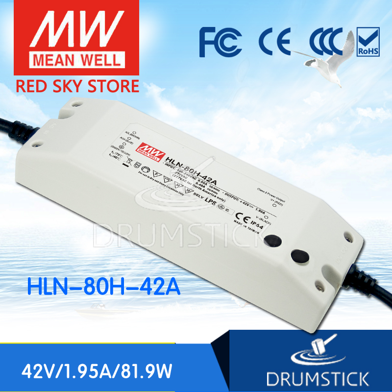 Advantages MEAN WELL HLN-80H-42A 42V 1.95A meanwell HLN-80H 42V 81.9W Single Output LED Driver Power Supply A type free shipping mean well hln 80h ip64 80w 12v 42v 48v 54v 181 61 35mm 90 305vac single output switching power supply