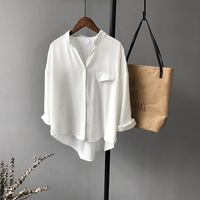 DERUILADY 2018 Spring Office Women Blouse New V Neck Bow Long Sleeve Chiffon Women Clothing Loose