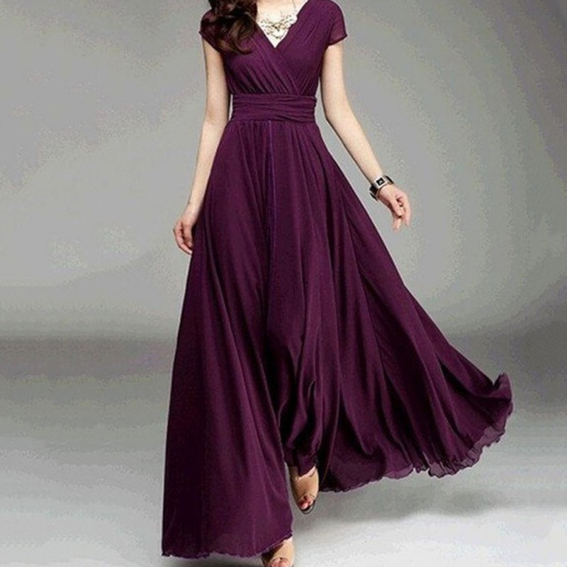 V Neck Long Dresses 2018 Short Sleeve Purple Chiffon
