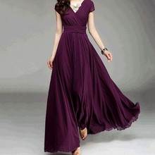 V Neck Long Dresses 2018 Short Sleeve Purple Chiffon Formal Dinner Party Maxi long vestido