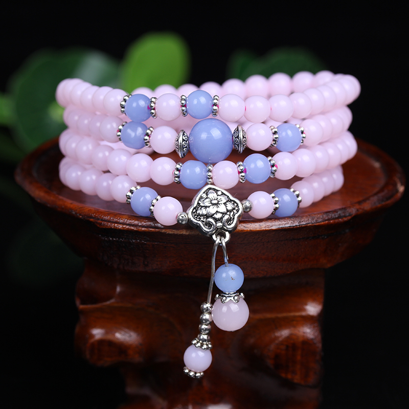 New Fashion 6mm Chalcedony Beads Tibetan Buddhist 108 Prayer Beads Necklace Gourd mala Prayer Bracelet for Meditation
